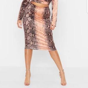 Boohoo Plus Slinky Snakeskin Skirt